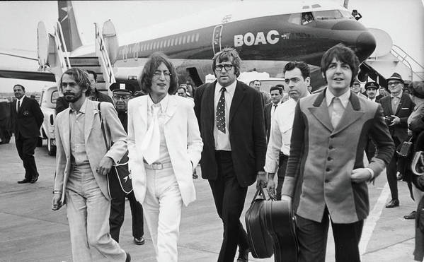 Following Art Print featuring the photograph Two Beatles Arrive In New York by Fred W. McDarrah