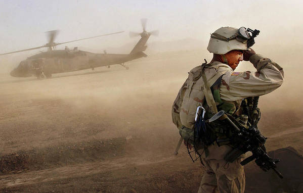 War Art Print featuring the photograph Us Soldiers On Special Operations In by Chris Hondros