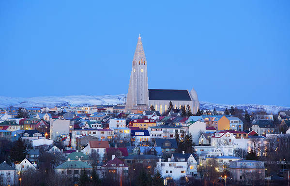 Snow Art Print featuring the photograph View Of Hallgrimskirkja Church by Travelpix Ltd