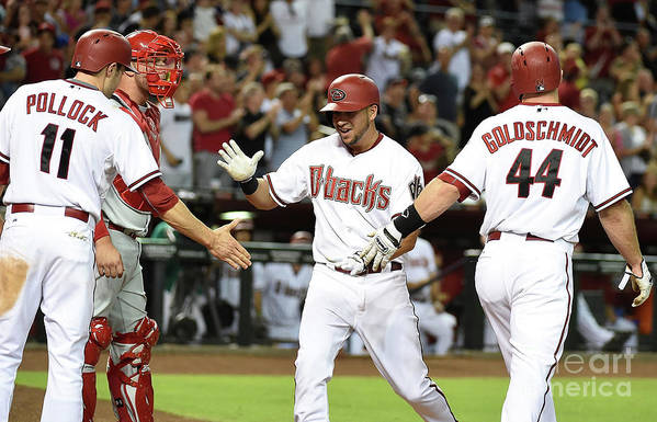 Second Inning Art Print featuring the photograph David Peralta and Paul Goldschmidt by Norm Hall