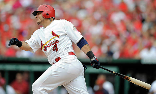 Following Art Print featuring the photograph Yadier Molina by Jeff Curry