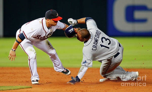 Atlanta Art Print featuring the photograph Carl Crawford and Martin Prado by Kevin C. Cox