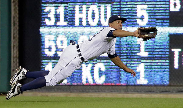 Ninth Inning Art Print featuring the photograph Anthony Gose and Ben Zobrist by Duane Burleson
