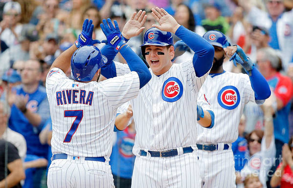 Second Inning Art Print featuring the photograph Anthony Rizzo and Rene Rivera by Jon Durr