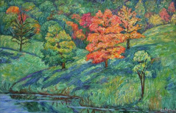 Landscape Art Print featuring the painting Autumn Pond by Kendall Kessler