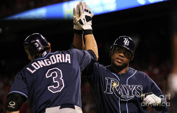 People Art Print featuring the photograph Carl Crawford and Evan Longoria by Ronald Martinez