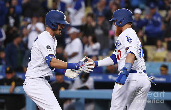 Three Quarter Length Art Print featuring the photograph Cody Bellinger and Justin Turner by Victor Decolongon