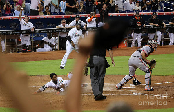 People Art Print featuring the photograph Dee Gordon and Andrew Susac by Mike Ehrmann