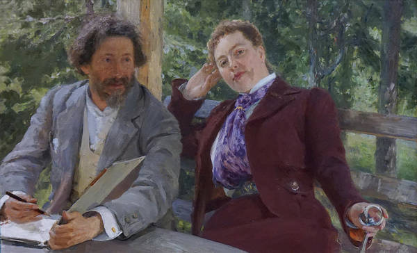 Ilya Repin Art Print featuring the painting Double Portrait of Natalia Nordmann and Ilya Repin by Ilya Repin