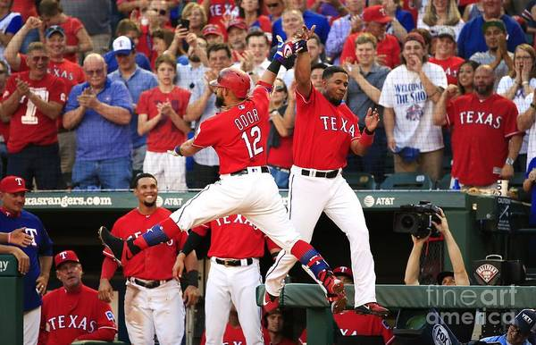 Second Inning Art Print featuring the photograph Elvis Andrus and Rougned Odor by Ron Jenkins