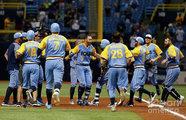 People Art Print featuring the photograph Evan Longoria and Peter Bourjos by Brian Blanco