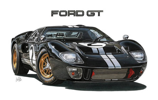 Ford Art Print featuring the drawing Ford Gt40 Mkii by Clive Botha - The Cartist