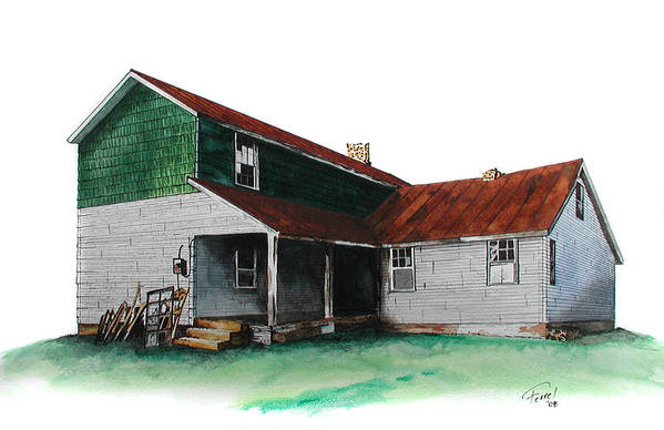 Old House Art Print featuring the painting Grandma's House on the Hill by Ferrel Cordle