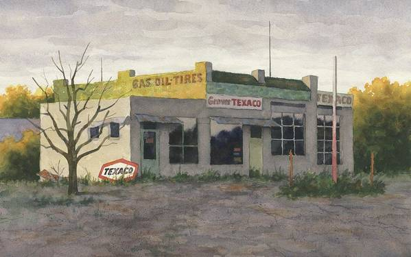 Stan Masters Watercolor Grover Missouri Grover Mo Texaco Gas Oil Tires Filling Station Gas Station Route 66 Abandoned Station Wildwood American Realism Architecture Art Print featuring the painting Grover Texaco by Stan Masters