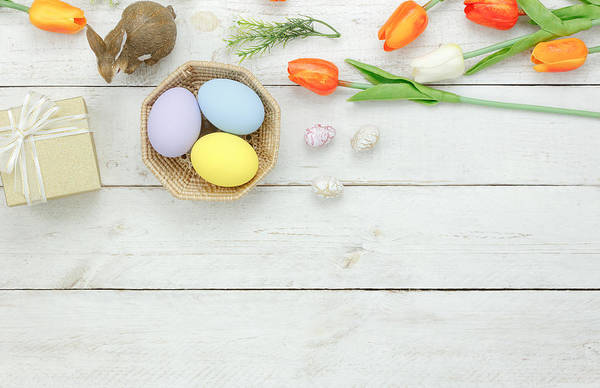 Easter Bunny Art Print featuring the photograph High Angle View Of Easter Eggs In Bowl On Table by Chattrawutt Hanjukkam / EyeEm