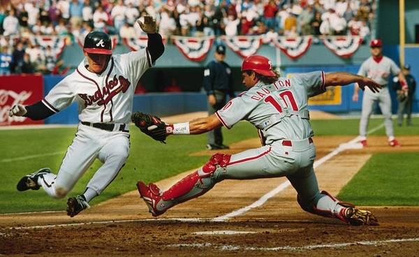 Atlanta Art Print featuring the photograph Jeff Blauser and Darren Daulton by Ronald C. Modra/sports Imagery