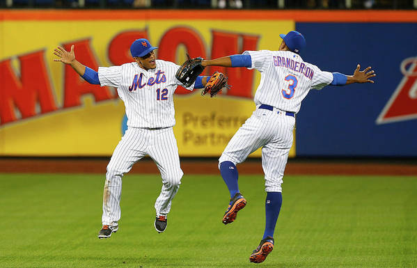 People Art Print featuring the photograph Juan Lagares and Curtis Granderson by Jim Mcisaac