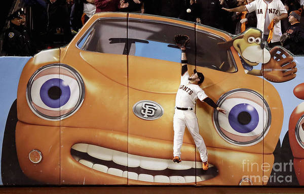 San Francisco Art Print featuring the photograph Kris Bryant and Gregor Blanco by Ezra Shaw