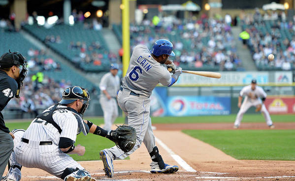 American League Baseball Art Print featuring the photograph Lorenzo Cain, Alex Gordon, and Billy Butler by Brian Kersey