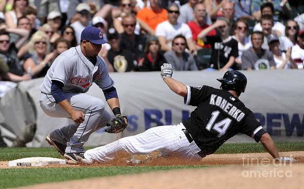 American League Baseball Art Print featuring the photograph Paul Konerko and Jhonny Peralta by Ron Vesely