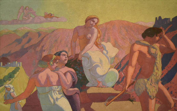 Ivan Morozov Commission Art Print featuring the painting Psyche's Kin Bid Her Farewell on a Mountain Top by Maurice Denis
