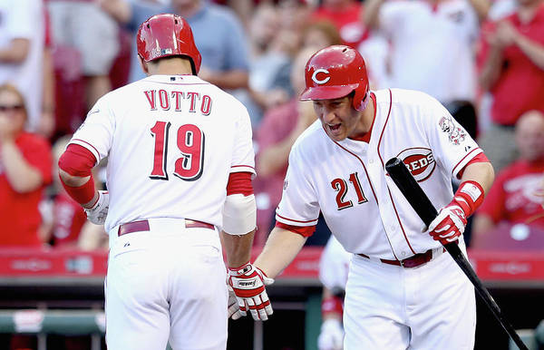 Great American Ball Park Art Print featuring the photograph Todd Frazier and Joey Votto by Andy Lyons