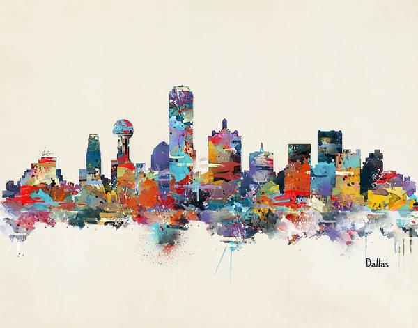 Dallas City Skyline Art Print featuring the painting Dallas Texas Skyline by Bri Buckley
