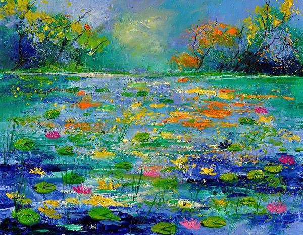 Landscape Art Print featuring the painting Pond 454190 by Pol Ledent