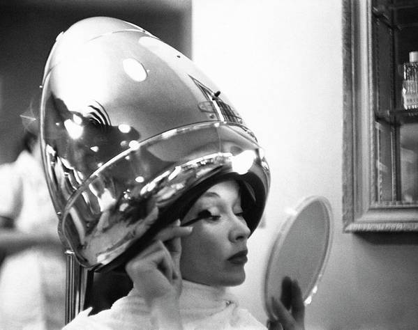 Fashion Art Print featuring the photograph A Model In A Beauty Salon by Constantin Joffe
