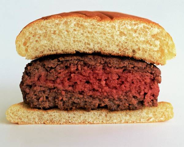 Cooking Art Print featuring the photograph A Rare Hamburger by Romulo Yanes