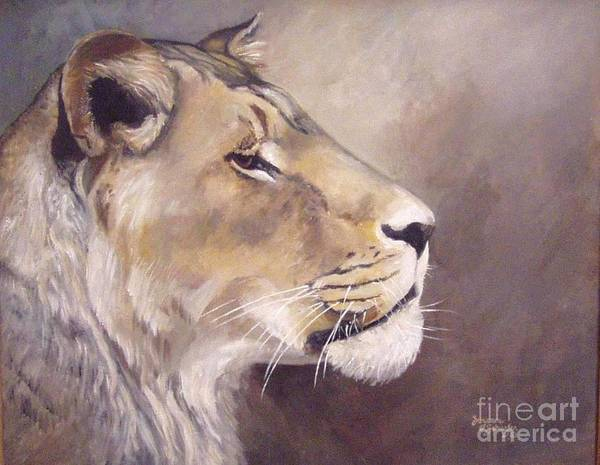 African Lioness Art Print featuring the painting African Lioness On Alert by Suzanne Schaefer