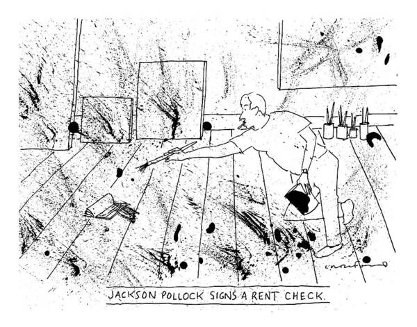 Captionless. Title: Pollock Art Print featuring the drawing An Artist, Presumable Jackson Pollock, Reaches by Michael Crawford