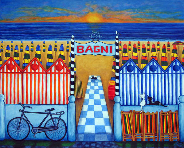 Italy Art Print featuring the painting An Italian Summer's End by Lisa Lorenz