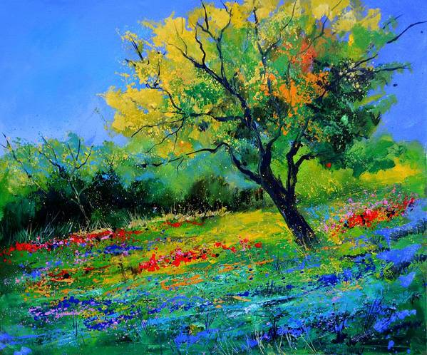 Landscape Art Print featuring the painting An oak amid flowers in Texas by Pol Ledent