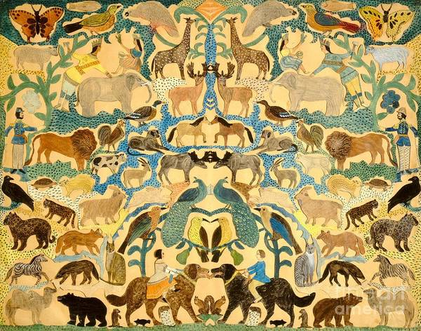 Elephant; Butterfly; Bird; Camel; Lion; Giraffe; Horse; Bear; Dog; Zebra; Deer; Leopard; Garden; Eden; Group; Cat; Fox Art Print featuring the painting Antique Cutout Of Animals by American School