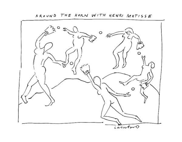 Captionless Mattise Art Painting Baseball Around The Horn Dancers Sports Art Print featuring the drawing Around The Horn With Matisse: Matisse's Dancers by Michael Crawford