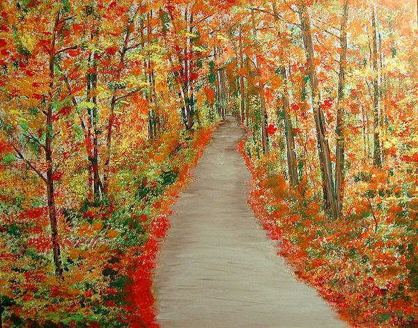 Landscape - Nature Art Print featuring the painting Autumn's moment by Marco Morales