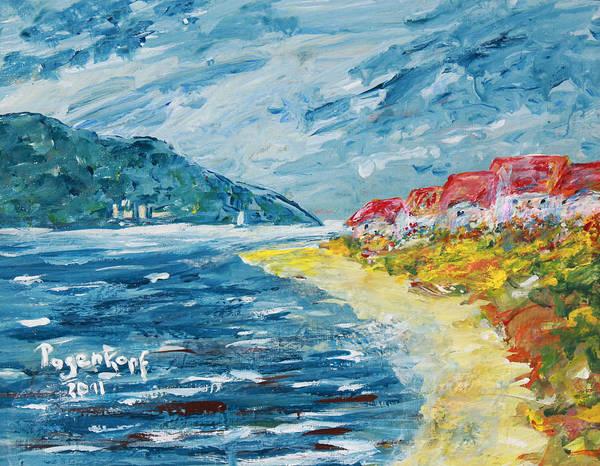 Beach Art Print featuring the painting Beach Houses by Monika Pagenkopf