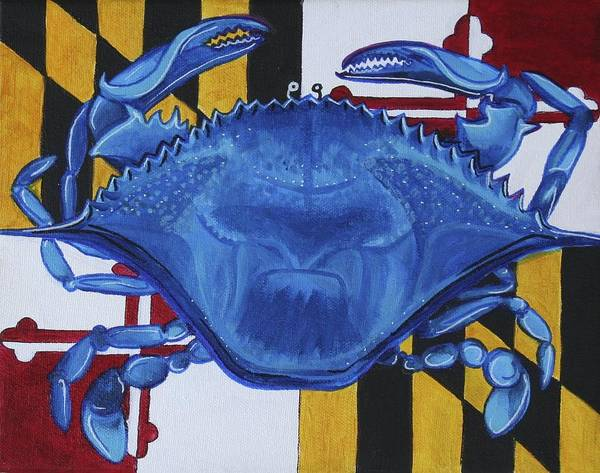 Maryland Art Print featuring the painting Blue Crab by Kate Fortin