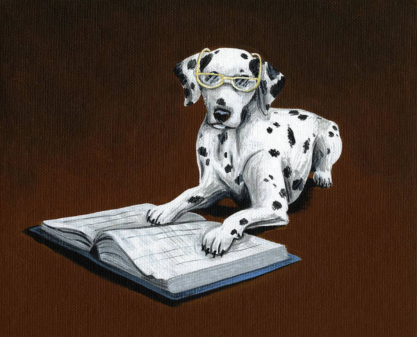 Dalmatian Art Print featuring the painting Book worm...Dog Art Painting by Amy Giacomelli