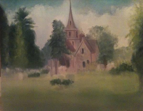 Church Art Print featuring the painting Burlington NJ Church by Sheila Mashaw