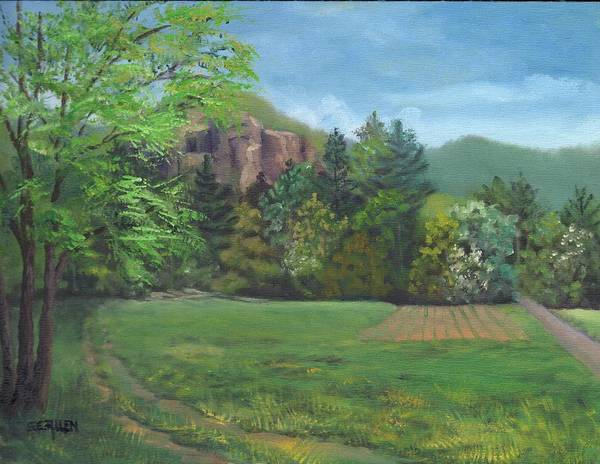 Cathedral Ledge Art Print featuring the painting Cathedral Ledge from Westside Road by Sharon E Allen