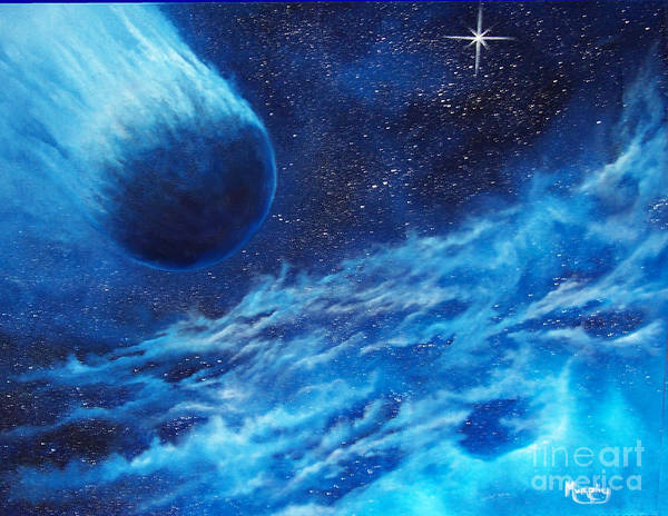 Astro Art Print featuring the painting Comet Experience by Murphy Elliott