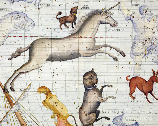 Map Art Print featuring the painting Constellation of Monoceros with Canis Major and Minor by Sir James Thornhill