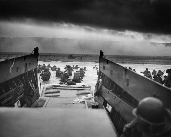 D Day Art Print featuring the photograph D-Day Landing by War Is Hell Store