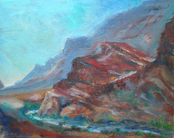 Virgin River Gorge Art Print featuring the painting Dawn In The Gorge by Bryan Alexander