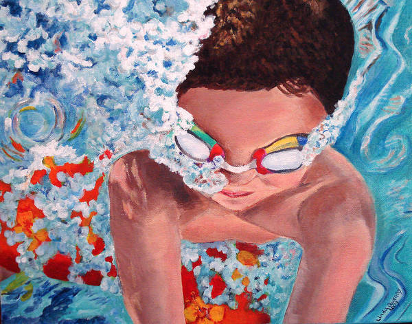 Swimming Art Print featuring the painting Dive In by Linda Queally