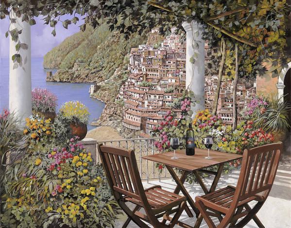 Positano Art Print featuring the painting aperitivo a Positano by Guido Borelli