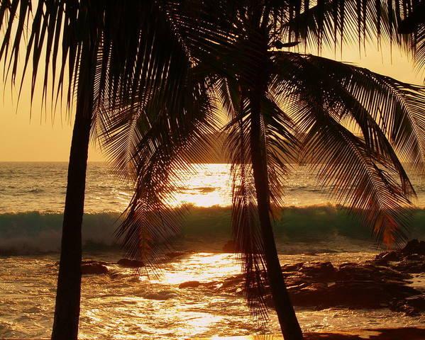 Hawaii# Hawaiian Sunset Art Print featuring the photograph Dusk by Athala Bruckner