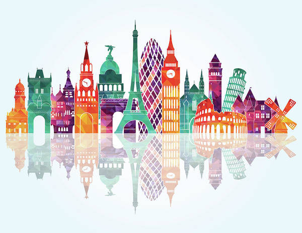 People Art Print featuring the digital art Europe Skyline Detailed Silhouette by Katerina andronchik